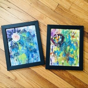 LP Set of 2 Original Abstract Floral Paintings